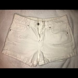 Bullhead White Distressed Denim Shorts